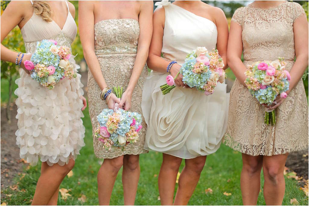 Mismatch, dresses, bridesmaids, bridal party, bride, wedding, style
